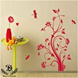 Kayra Décor DIY Dragonfly and Flowers Painting Stencil for Wall Decor (16x24-inches, Multicolour).