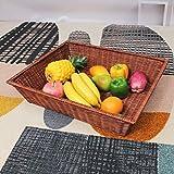 SLH Rattan Obstkorb Oval Korb Wohnzimmer Tee Tisch Candy Snack Tablett Obstteller Kreative Brotkorb