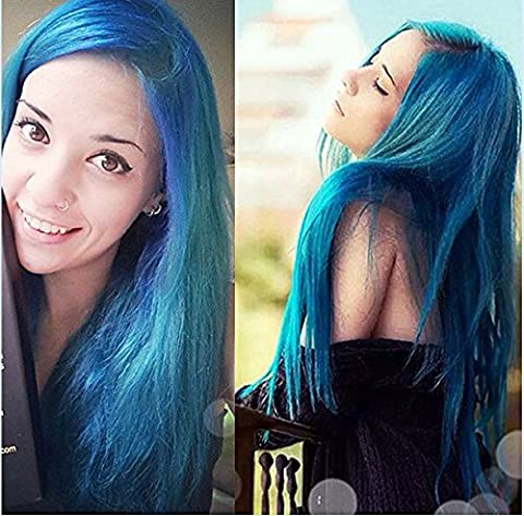 Eseewigs Long Dark Root Blue and Green mixed color Ombre Two Tone Cosplay Party Wig Heavy Full Straight Lace Front Heat Resistant Synthetic Hair Wig for Women 24inch