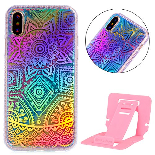 Custodia iphone X 5.8, iphone 10 Cover Glitter, Ekakashop Cover Morbido Sparkly Bling Bling Glitter TPU Silicone Gomma Soft Cover, Belle Bello Trasparente Crystal Clear Protettiva Back Cover Case Cus A-Mandala