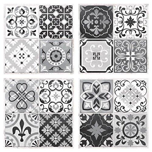 Carrelage Adhésif Repositionnable Carreaux De Ciment Noir&blanc (4 Pièces 25x25cm) - Vinyle
