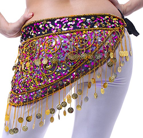 Bauchtanz Hip Schal Tribal Egyptian Triangle Sequin Gold -