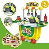 elegantstunning Pretend Play Attrezzi di Montaggio Simulazione Trolley Toy Set Halloween Borse per Bambini Tableware Bucket Car 0.72k