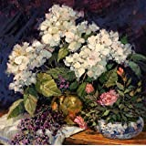 Vitalwalls Lavender And Cream Color Flowers Still Life Painting (Static-344-60, Canvas Print, 60 Cm X 60.8 Cm)