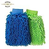 FMS Guanto Lavaggio Ciniglia Microfibra Pulizia Lavare Guanti con Panno in Microfibra (2 pezzi ) Verde Blu 26x19cm Verde Blu