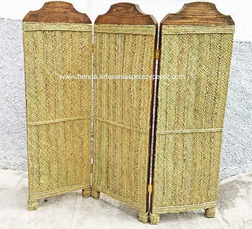 Biombo de madera y esparto 3 paneles