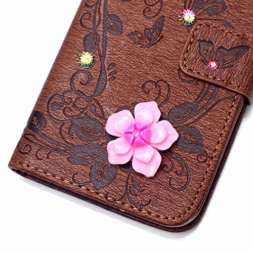 Coque Etui pour iPhone SE / 5 / 5S, iPhone SE / 5 / 5S Coque en Cuir Flip Etui Housse, iPhone SE / 5 / 5S Coque de Protection Folio Bookstyle Housse, Cozy Hut Etui de Protection PU Cuir Portefeuille D brun