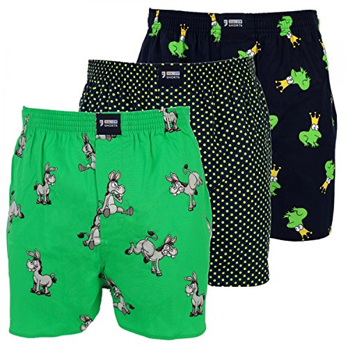 Happy Shorts 3 Webboxer Herren Boxer Motiv Boxershorts FARBWAHL, Grösse:M - 5-50, Präzise Farbe:Design - Boxershorts Herren Lustig