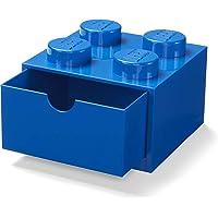 LEGO 40201731 Bureau Tiroir 4 Boutons Empilable Boite de Rangement, Bleu, Petit