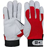 PRO FIT 12 Paar - Nappaleder Handschuh mit Trikotrücken Klettverschluss, Premium-Qualität, rot 10