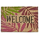 "Relaxdays 40 x 60 cm Coconut Fibre ""Welcome"" Doormat with Colourful Leaves"