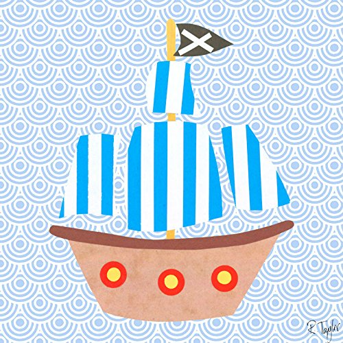Oopsy Daisy Collage (Oopsy Daisy Collage Piratenschiff Gespannte Leinwand Art Wand von Rachel Taylor, blue#000099, 10 by 10-Inch)