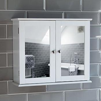 Portland Double Door White Bathroom Mirror Cabinet Mirrored Bathroom