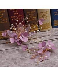 Littlefairy Tocado de Novia,Hechas a Mano Flores Flor Diamante Seda Adornos para el Pelo