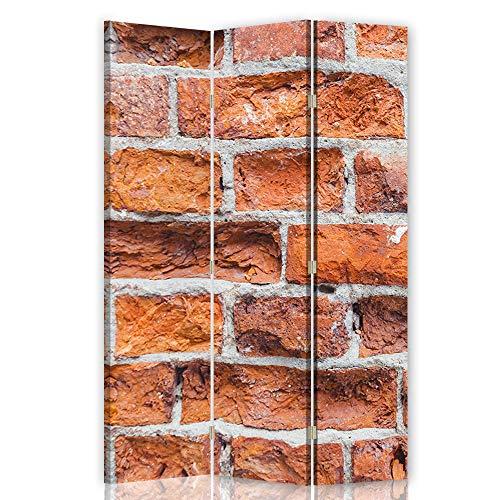 Feeby Foto Biombo Ladrillos Muro 3 Paneles Unilateral Abstracto Rojo 1