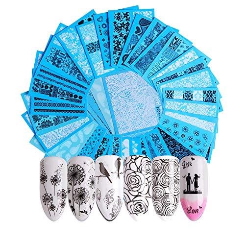 n Nail Sticker Set, schwarz und weiß Spitzenfarbe, Gold Nail Sticker, Blume Schmetterling Muster Nail Sticker Dekoration, Multi Style, 6,4 * 5,3 cm, 40 Pcs pro Set ()