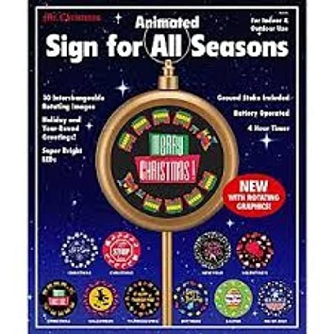 Christmas Animated Sign For All Seasons with 10 Interchangeable Rotating Images by Mr. Christmas