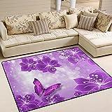 JSTEL ingbags Super Weich Moderner violett Schmetterling, ein Wohnzimmer Teppiche Teppich Schlafzimmer Teppich für Kinder Play massiv Home Decorator Boden Teppich und Teppiche 160x 121,9cm, multi, 80 x 58 Inch