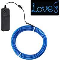 JIGUOOR 5M EL Wire, Battery-powered Bright Neon Light Rope Tube 360° Flexible 3 Modes Illumination Neon Sign Kit for Halloween Christmas Festival Party DIY Bar Sign Car Decor-Blue,1 Pack
