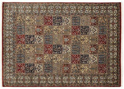 ROSHAN GHOM echter klassischer Orient Felderteppich handgeknüpft in rot-beige, Größe: 140x200 cm -
