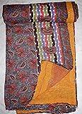 Tribal asiatischen Textilien Kantha Quilt Vintage Wende Überwurf indische Handarbeit Decke