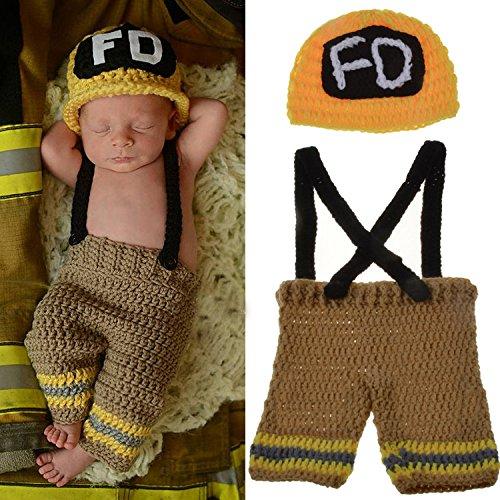 ENCOCO Baby Foto-Requisite Outfit Kleidung Stricken Häkeln Fotografie Kleinkind niedliche Feuerwehrmänner Form Handarbeit Kostüm Mütze Unisex Mädchen Jungen Set gelb