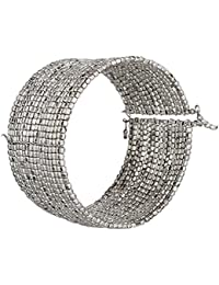 Silver Bead Wide Cuff Bracelet Silver Tone Brass Metal Bracelets, Adjustable Bangle One Size Fit All, Fashion...