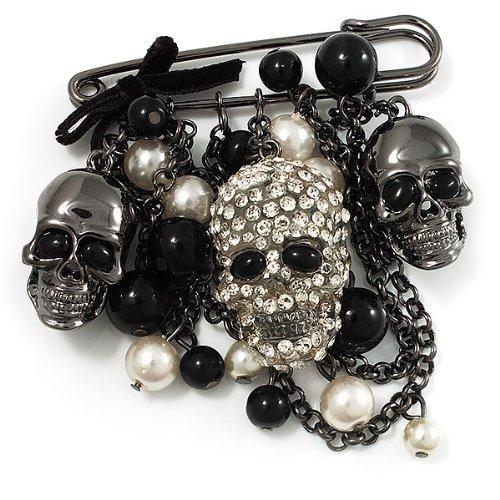 Spilla da balia con ciondoli a forma di teschi, catene e perle, ornamento da esibizione, finiture a canna di fucile