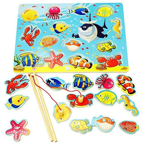 Lewo Magnetisches Holzpuzzles Angeln Spielzeug für 3 4 5 Jährige Kind Baby Kleinkind Jungen Mädchen Magnet Spielzeug mit 14Fischen und 2 Magnetpol - 3-jähriges Mädchen Geschenke