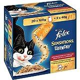 Felix Katzennassfutter Sensations Crunchy in Gelee mit Crunchy Knusperstückchen Geschmacksvielfalt vom Land 4 x 20 x 100 g Portionsbeutel +8 x 40 g Knusperstückchen, 4er Pack (4 x 2.08 kg)