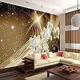 murando - Fototapete 350x256 cm - Vlies Tapete - Moderne Wanddeko - Design Tapete - Wandtapete - Wand Dekoration - Magnolien Abstrakt Blitz Diamant Braun Gold Blumen b-A-0237-a-b