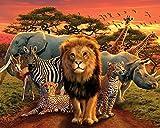 African Kingdom Poster Elefant,Zebra,Löwe,Gepar