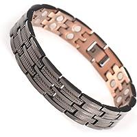 YINOX Bracelet en cuivre magnétique pour Hommes Gunmetal avec 30pcs aimants forts réglable 21.5CM / 13MM