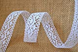 Spitzenband WEISS 25mm Spitze METERWARE weiße Baumwollspitze Häkelband Spitzenborte Hochzeit Dekoband Schleifenband Landhaus Vintage Deko