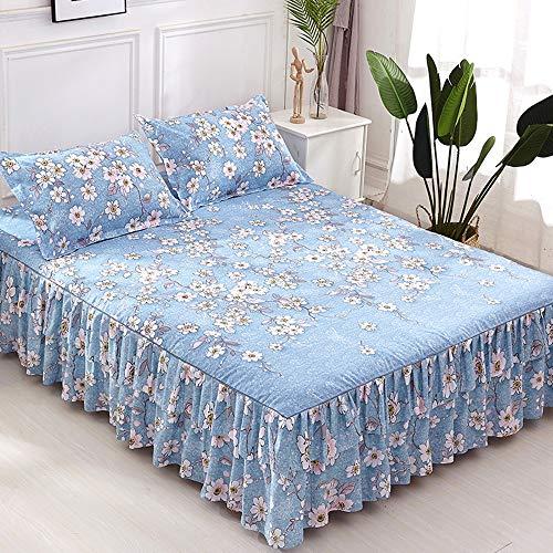 QIN Gesteppte Tagesdecke mit Blumenmuster, Bett-Rock, Bettbezug, 2 Kissenbezüge, 4er-Set, Einzel-, Doppel-, Kingsize-Bett,B,180 * 200CM - Kingsize-bettbezug-bett