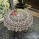 Tischdecke rund Spitzendecke Tischtuch Tischdecke abwaschbar für Garten Camping