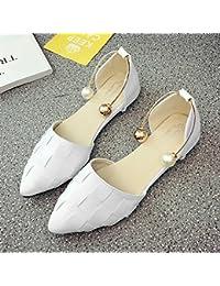 LGK  FA Sommer Damen Sandalen Flache Unterseite Pearl Schnalle Sandalen Flach Mit Einfach Studenten Schuhe