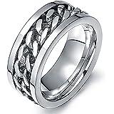 Amesii, anello punk a fascia con catena incastonata in acciaio inox unisex