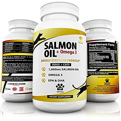 Natural, Wild Alaskan, Salmon Fish Oil Supplement - For Dogs & Cats - Omega 3 Plus DHA & EPA Fatty Acids - No Fishy Smells - Promotes Healthy Coat & Joint Function - Softgels - Made In
