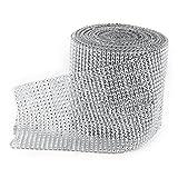 ULTNICE Cinta Diamantes de Imitación Plástico Adorno para Bricolaje Decoración Boda Fiesta Cumpleaños Plata 24 Filas 914 cm