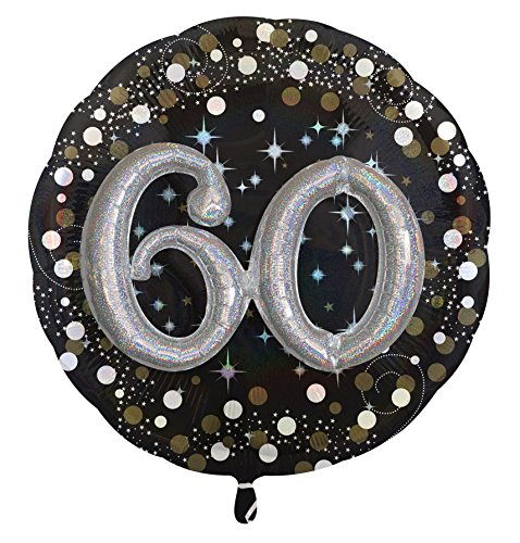 amscan 3215501 Multi Sparkling Birthday Folienballon, 60 (Up 60-dress Ideen)