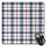 HYYCLS Plaid Mauspads, Traditional Checkered British Country Pattern with Geometric Design, Standard Size Rectangle Non-Slip Rubber Mousepad, Navy Blue Vermilion White