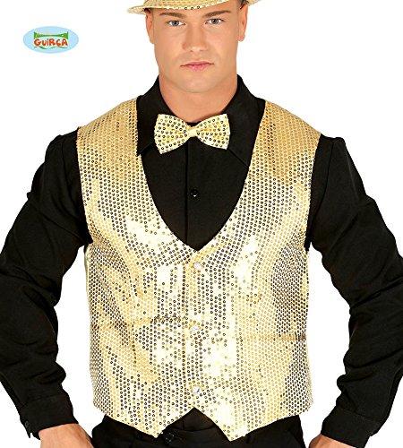 (Goldene Pailletten Weste für Herren Karneval Fasching Silvester Party Gr. M/L)