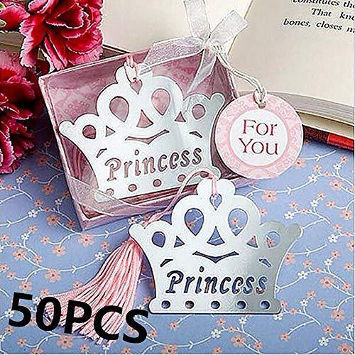 50 Pcs Exquisite Prinzessin Crown Lesezeichen regalos de boda para los invitados Baby Dusche Souvenirs Für Mädchen Geschenke Hochzeit Gefälligkeiten