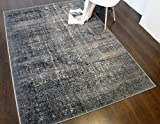A2Z RUG Modern Vintage Design Rug Light Grey & Bronze 160x230 cm - 5'2''x7'5'' ft Shadow Collection Area Rugs Contemporary Living Dinning Room & Bedroom