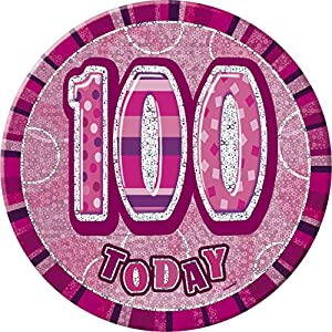 Unique Party Insignia gigante de 100 cumpleaños Color rosa brillante 15 cm 55460
