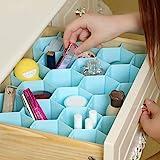 INOVERA (LABEL) Honeycomb Underwear Innerwear Socks Organizer Drawer Clapboard Closet Divider 8 Strap,(18 Compartment, Blue,
