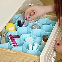 INOVERA (LABEL) Honeycomb Underwear Innerwear Socks Organizer Drawer Clapboard Closet Divider 8 Straps (18 compartment…