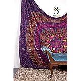 Aakriti Gallery Double Big Flower Mandala Bohemian Hippie Hanging Pattern Indian Psychedelic Mandala Green 234 x 208 cm (Purple)