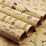 Carta da imballaggio, Leaptech Carta da imballaggio doppia dimensione Carta da regalo vintage Carta da regalo Carta da imballaggio avvolgente Carta da regalo di Natale 5 pezzi in design diverso 75 * 51 cm (Retro)